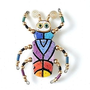 Ceramic & Wire Enamel Bead Beetle Insect Brooch